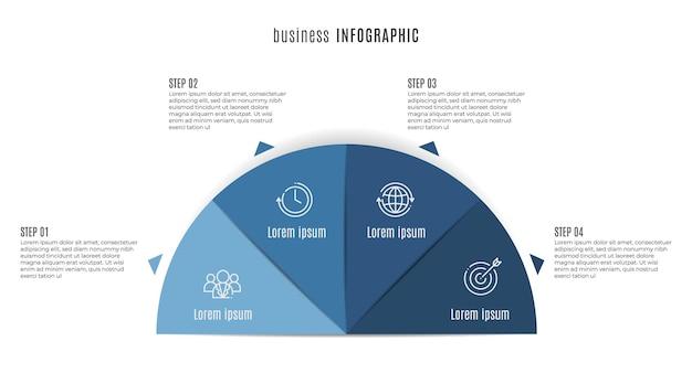 Modello infografico timeline 4 opzioni stile mezzo cerchio