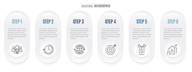 Modello di infografica timeline 6 opzioni stile cerchio