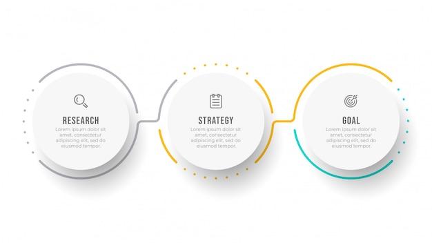 Modello di infografica timeline. concetto di business con cerchio e 3 opzioni o passaggi.