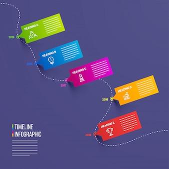 Timeline infographic modello di progettazione con 5 livelli.
