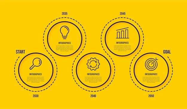 Modello di infografica timeline con più opzioni concetto di passaggi di visualizzazione dei dati aziendali stile di icone di linea sottile su sfondo giallo