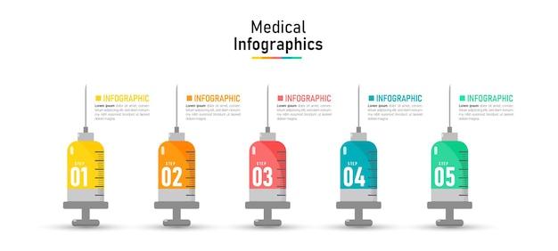 Timeline infografica con concetto medico e sanitario Vettore Premium