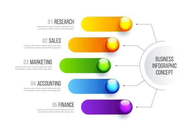 Timeline infographics design concetto di business con 5 opzioni, passaggi o processi.