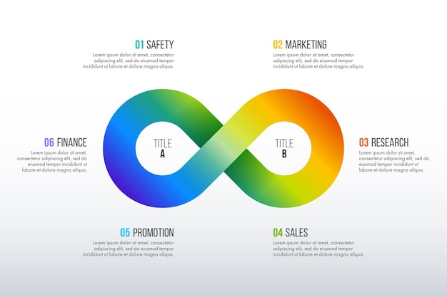 Progettazione infografica timeline. concetto di affari con 6 opzioni, passaggi o processi.