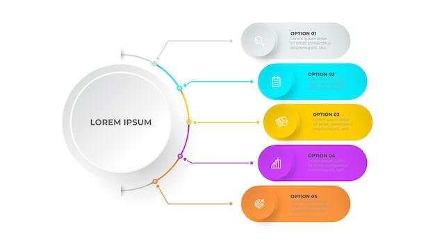 Modello di infografica timeline business concept design con cerchi e cinque passaggi o processi di opzioni