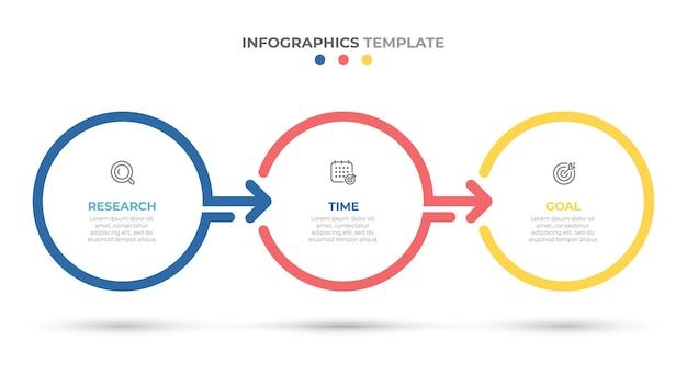 Timeline infografica modello di progettazione con cerchi