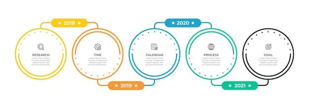 Progettazione di etichette modello infografica timeline con linea sottile e cerchi