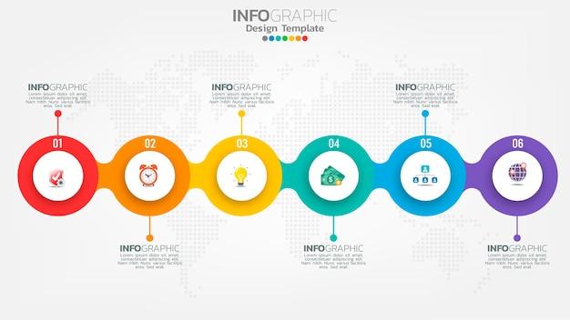 Modello di infografica timeline con diagramma di processo del flusso di lavoro a 6 elementi.