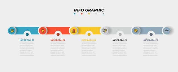 Cronologia infografica con icona marketing e passaggio, opzione, processo.
