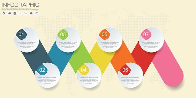 Timeline infografica vettoriale. sfondo di mappa del mondo