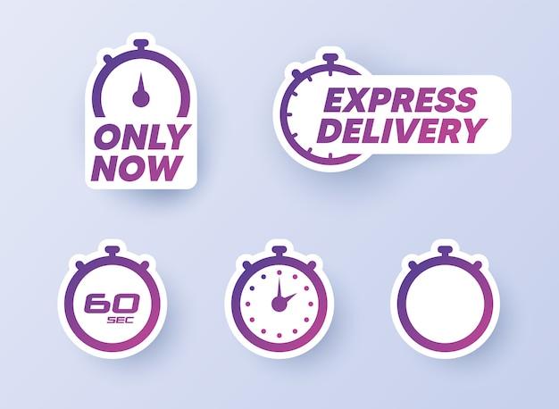 Set di adesivi timer. timer, orologio, icone del cronometro