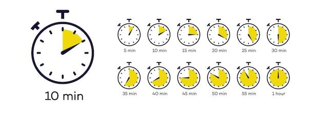Insieme di simboli di vettore del timer isolato su sfondo bianco orologio cronometro tempo di cottura etichetta eps