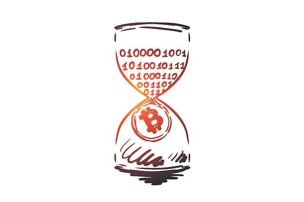 Timestamp, bitcoin, blockchain, valuta, concetto digitale. reddito passivo disegnato a mano, schizzo di concetto di data mining.