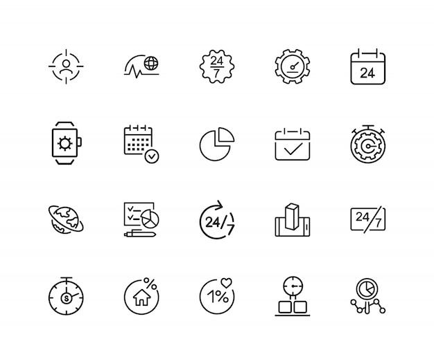Icone di temporizzazione. set di venti icone di linea. tutto il giorno, scadenza, programma.