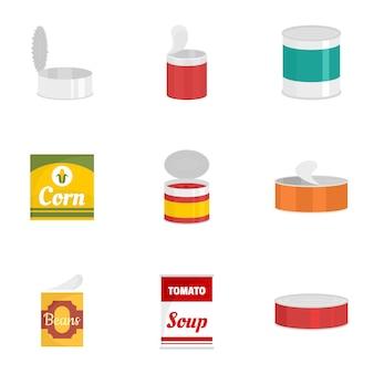 Set di icone di lattina in scatola, stile piano