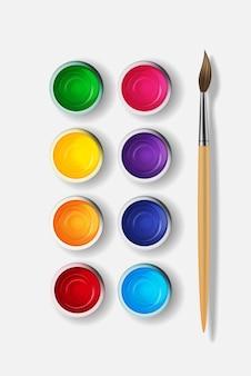 Barattoli con guazzo, set di raccolta di colori acrilici