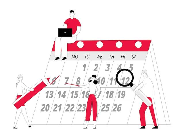 Il team di minuscoli imprenditori all'enorme calendario pianifica gli affari per il mese