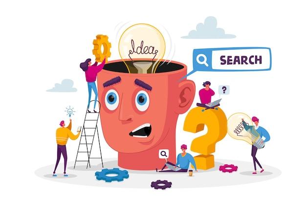Piccoli personaggi intorno a una testa enorme con lampadina. analisi della ricerca del team aziendale per lo sviluppo del progetto. lavoro di squadra e ricerca del concetto di idea