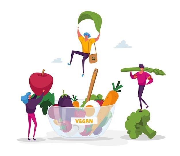 Piccoli personaggi portano frutta e verdura in una ciotola enorme