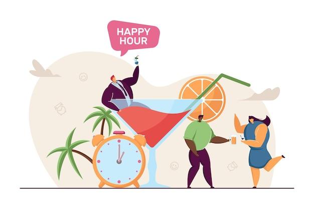 Piccoli personaggi che celebrano la promozione in pub o ristorante. uomo d'affari nell'illustrazione piana di vettore di vetro enorme. happy hour, alcol, concetto di festa per banner, design di siti web o pagine web di destinazione