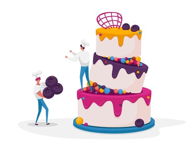 Piccoli personaggi in uniforme da chef e berretto che decorano una torta enorme