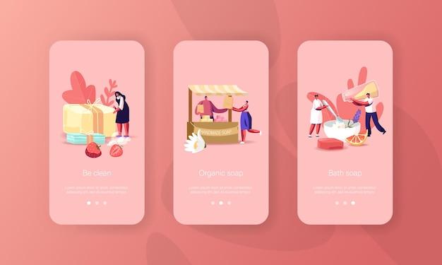 Modello di schermo a bordo della pagina dell'app mobile di sapone fatto a mano di piccoli personaggi