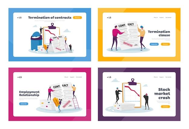 Set di modelli di pagina di destinazione del contratto terminati con caratteri minuscoli in un documento enorme.