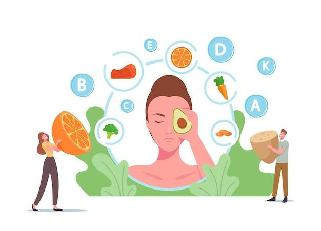 Piccoli personaggi a un'enorme testa femminile con avocado sul viso, cibo sano per la salute della pelle, frutta, prodotti fortificati