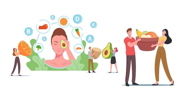 Piccoli personaggi a testa enorme femminile con avocado, persone mangiano cibo sano per la salute della pelle, verdure, bacche e frutta prodotti fortificati, vegetazione organica, vitamina c. cartoon illustrazione vettoriale