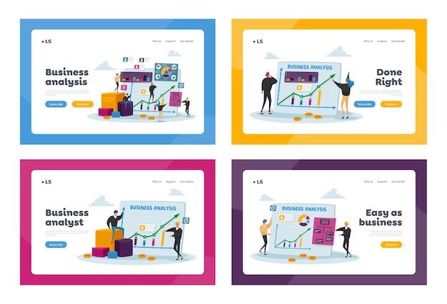 Piccoli personaggi su monitor enorme con set di modelli di pagina di destinazione grafici