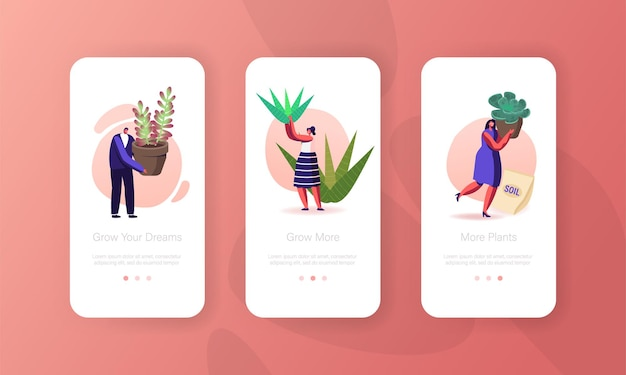 Piccoli personaggi che piantano piante e fiori decorativi modello di schermata della pagina dell'app mobile.