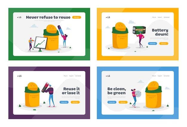 Piccoli personaggi mettono i rifiuti delle batterie in un contenitore enorme