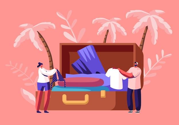Piccoli personaggi tirano fuori vestiti e accessori da viaggio dalla valigia enorme dopo il viaggio di vacanza