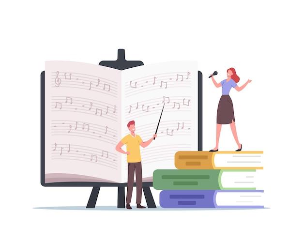 Insegnante di piccoli personaggi con puntatore e studente canta, impara le note in piedi su enormi libri di testo. il cantante prende lezioni di canto