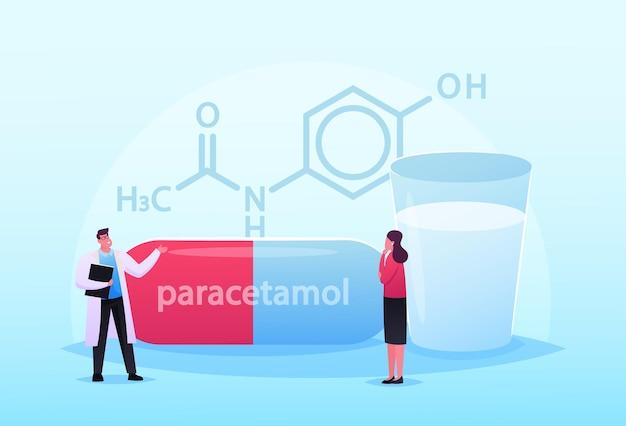 Piccoli personaggi del medico e del paziente stanno alla formula enorme del farmaco di paracetamolo