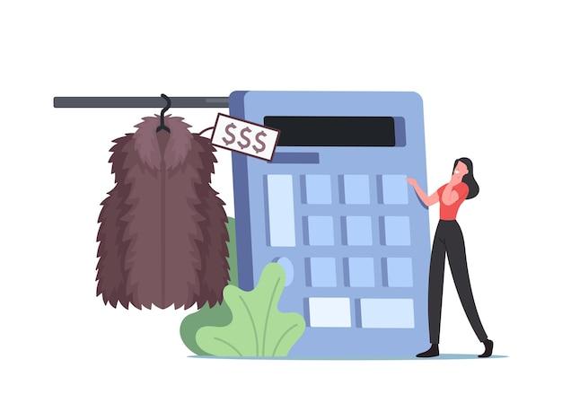 Piccolo personaggio femminile che conta su un enorme calcolatore prezzo di una pelliccia molto costosa. sogno di una donna di acquistare vestiti di marca