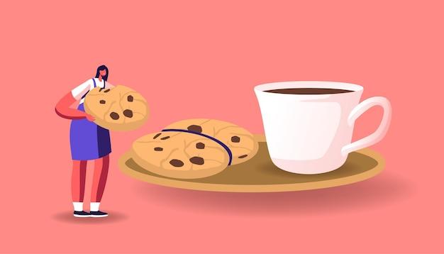 Carattere femminile minuscolo che mangia biscotto enorme con cioccolato spruzza al piattino e tazza con caffè