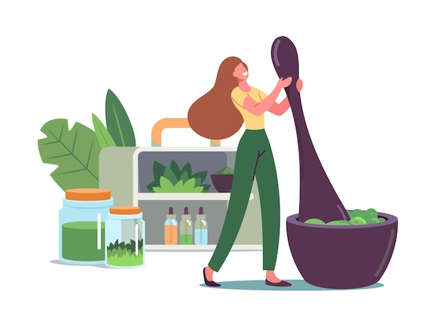 Piccolo personaggio femminile macina piante e ingredienti naturali in un enorme mortaio per preparare la medicina tradizionale