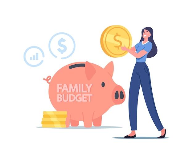 Il piccolo personaggio femminile ha messo la moneta in un enorme salvadanaio. la donna raccoglie denaro per il bilancio familiare, contanti, profitto finanziario. reddito di base universale, guadagni salariali e concetto di ricchezza. fumetto illustrazione vettoriale