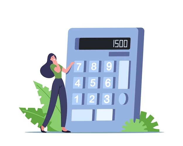 Piccolo personaggio femminile con un'enorme calcolatrice che conta le calorie per un'alimentazione sana e la perdita di peso. concetto di nutrizione e dieta, carboidrati e controllo dei grassi negli alimenti. fumetto illustrazione vettoriale