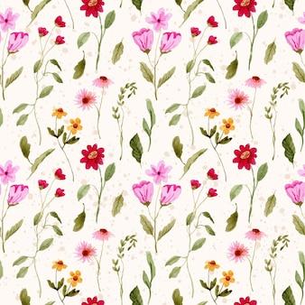 Modello senza cuciture dell'acquerello piccolo giardino floreale