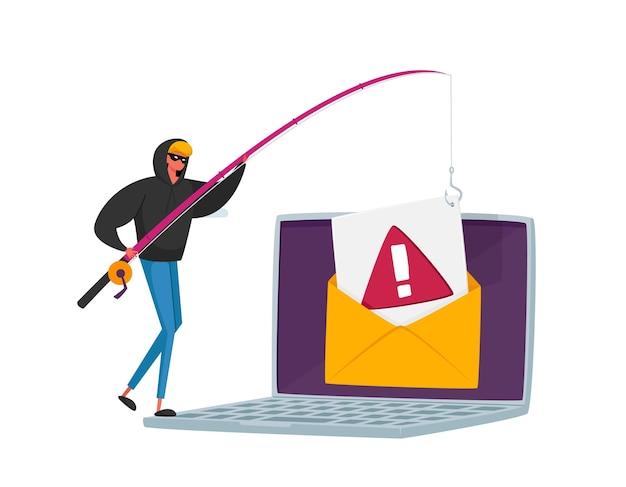 Piccolo personaggio maschile di hacker con canne che phishing dati personali in un enorme laptop tramite internet, messaggi di posta elettronica di spoofing o pesca, pirateria informatica con carta di credito