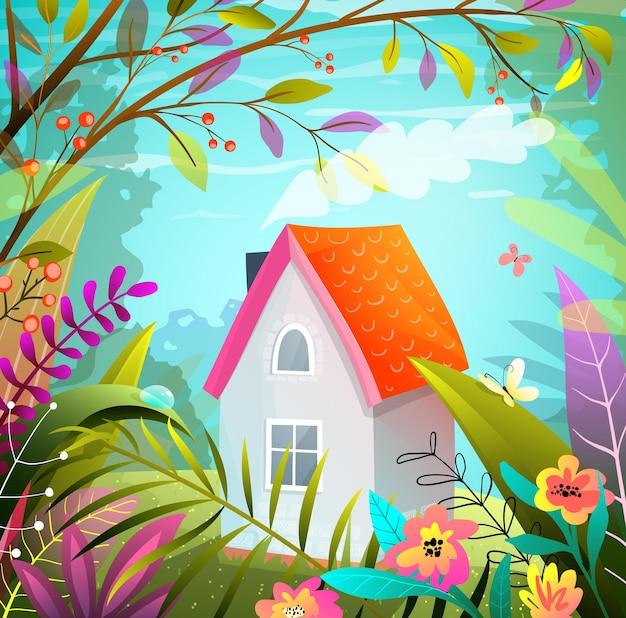 Piccola casa nel bosco, illustrazione disegnata a mano magica immaginaria in stile colorato a guazzo.