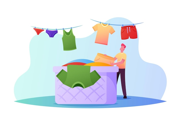 Piccolo personaggio maschile che appende vestiti bagnati puliti su una corda per l'asciugatura prendendo la biancheria lavata dall'enorme cesto in bagno o in lavanderia