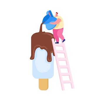 Piccolo personaggio maschile in piedi sulla scala versare il cioccolato su un enorme ghiacciolo