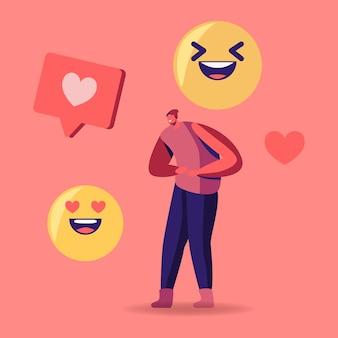 Piccolo personaggio maschile in abiti da teenager che ride con un enorme sorriso emoji e cuore social media icons. illustrazione del fumetto