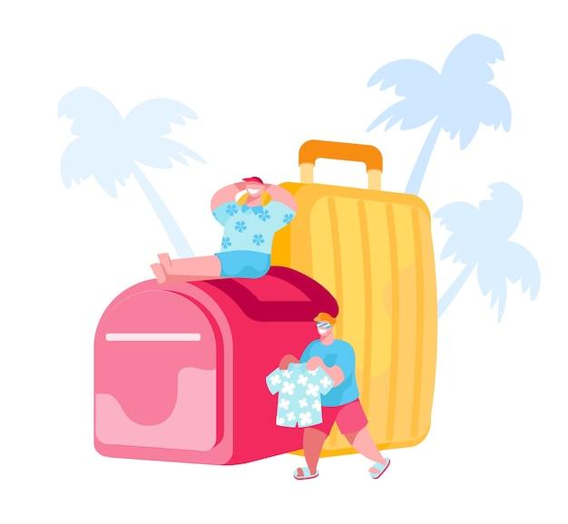 Piccoli personaggi maschili si preparano per il viaggio nel resort di campagna tropicale
