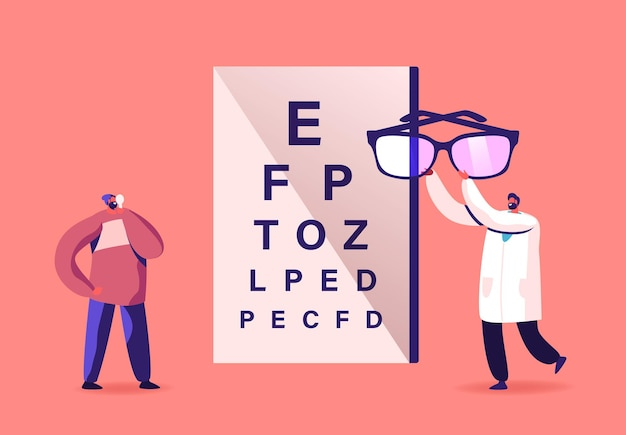 Il piccolo personaggio di un dottore maschio porta enormi occhiali per il paziente davanti alla tabella per il controllo della vista
