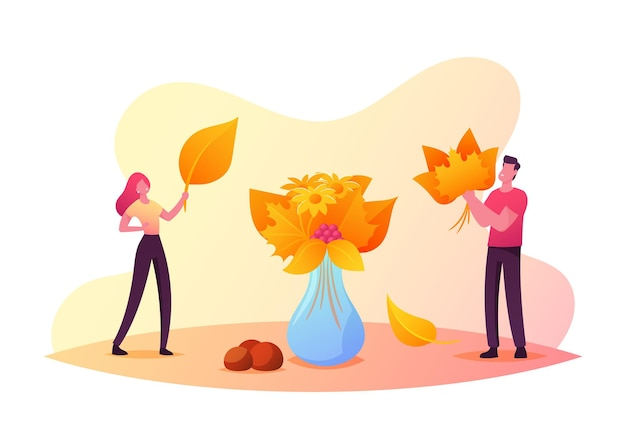 Piccoli personaggi maschili e femminili che raccolgono bouquet autunnali mettono foglie cadute colorate