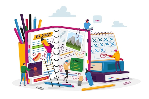 Minuscoli personaggi maschili femminili in enormi note di diario, pianificazione di offerte, riempimento della lista delle cose da fare, mettere adesivi e immagini, data rotonda nel calendario, organizer, taccuino